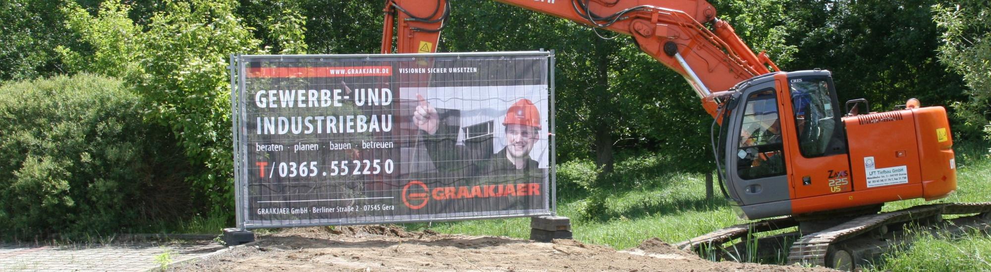 Bauzaunblende Bauzaunbanner Druck auf Gitternetzplane Mesh Standard 270 g/m²