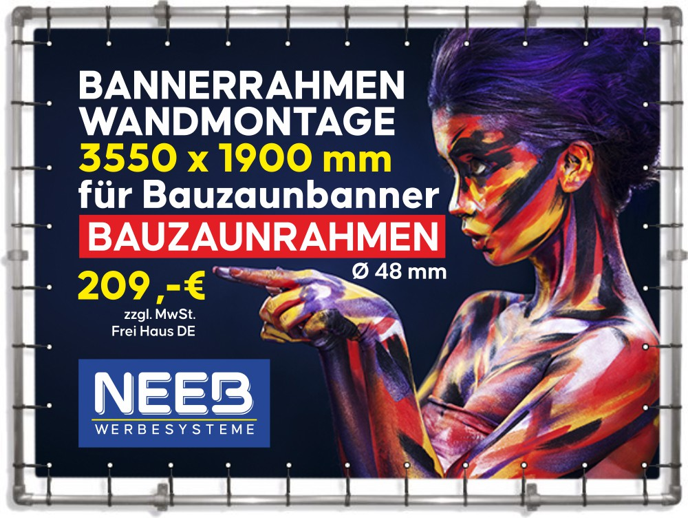 Alu-Bannerrahmen-Wandmontage-Bauzaunbanner-3550x1990mm